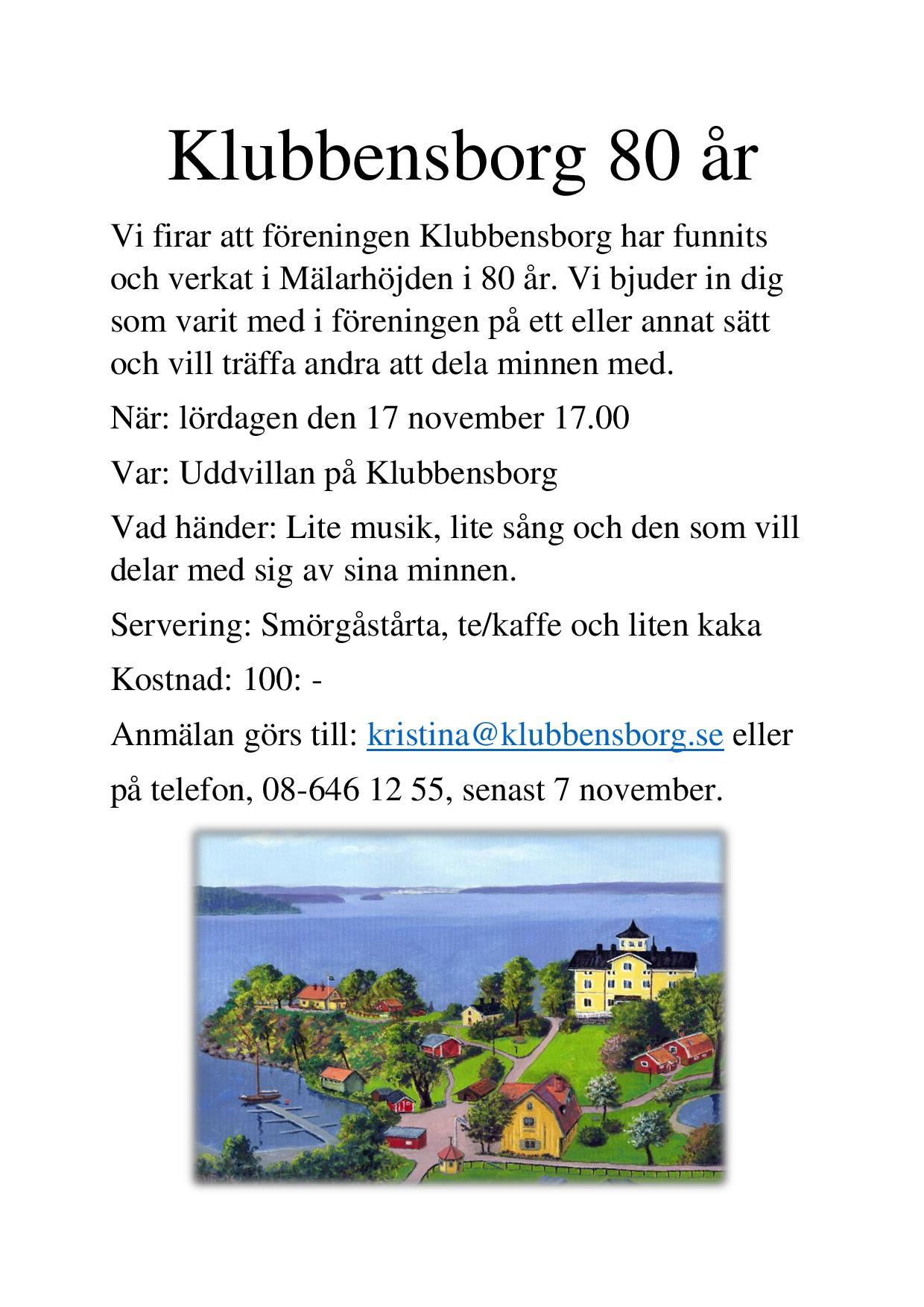 Flyer Klubbensborg 80 år